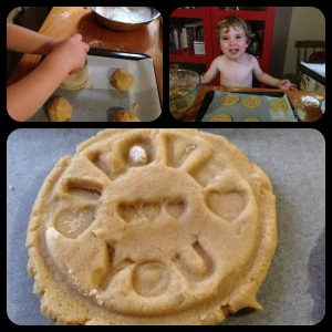 Three tiled photos showing the messy process of making 'I Love You' cookies with a 2 year old.